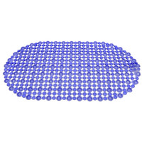 Blue Grid PVC Bathroom Mat Bathroom Accessory with Oval Shap...