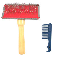 Pet Slicker Brush Comb with Wood Handle