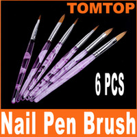 Wholesale 6Pcs set Acrylic Nail Art Brushes Set Pen Design drop shipping H4571