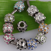 Wholesale 20pc Assorted Color Silver Tone Leaf Crystal Charm Bead Fit European Bracelet AA816