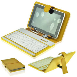 """USB Keyboard + Protective Leather Case Stand Cover for 7 inch 7"""" Tablet PC MID Yellow"""