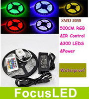 Wholesale Free DHL RGB Leds M Led Strip SMD Waterproof Keys IR Remote Controller With Power Supply