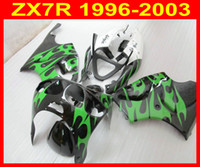ABS Green flame Fairings Kawasaki ZX 7R 96- 03 ZX7R Ninja 96 ...