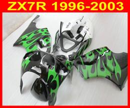 ABS Green flame Fairings Kawasaki ZX 7R 96-03 ZX7R Ninja 96 97 98 99 00 01 02 03 As You See