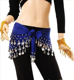 Wholesale 8 Colors Rows blue Coins Belly Egypt Dance Hip Skirt Scarf Wrap Belt Costume