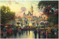 Wholesale Thomas Kinkade Canvas Oil Painting Reproduction Disneyland th Anniversary