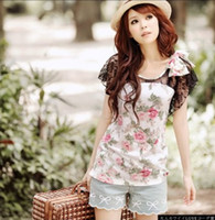 Women Cotton Round 2012 NEW ARRIVAL Korean fashion women short lace t shirts Floral cotton shirt