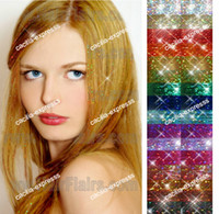 Wholesale 24 quot Sparkling Feather hair Tinsel Hair Extensions D Shinny Hair Extension strands XG