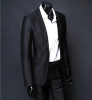 Wholesale top quality mens black shiny business suit Groom suit with free necktie size S XL frock pants