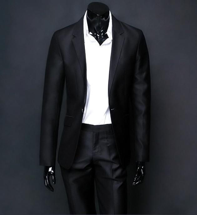 Brand New A    Mens Black Shiny Business Suit/Groom Suit with Free ...