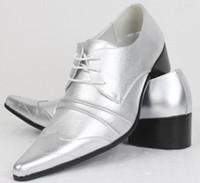 Men Grey Loafers Free shipping fashion Silver tip British men's business and leisure high-heeled wedding dress shoes
