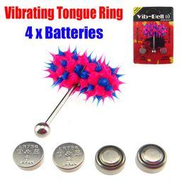 Wholesale Tattoo Supply Vibrating Tongue Bar Ring Koosh Ball Free Batteries for Body Jewelry Piercing BJA