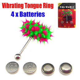 Wholesale Tattoo Supply Vibrating Tongue Bar Ring Koosh Ball Free Batteries for Body Jewelry Piercing BJA