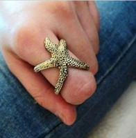 Women's asteroid size - Copper D Starfish Ocean Sea Star Fish Asteroid Style Wrap Finger Rings LY2