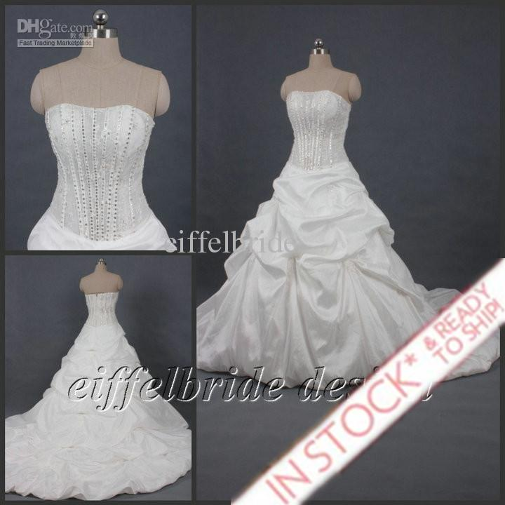 Discount In Stock Wedding Dresses With Sexy Bling Bling Real ...