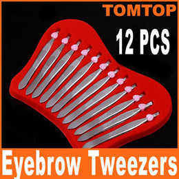 Wholesale 12pc set High quality Stainless Steel Slanted Eyebrow Tweezer Tweezers Hair Removal Clip Makeup Tool