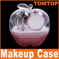 Wholesale 10 in Mini Makeup make up Cosmetic Beauty Grooming Tool Kit Eyebrow Scissor Clamp Brush Set H4844P