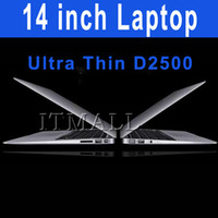 Wholesale 14 inch Notebook Dual Core Intel Atom D2500 Ultra thin Laptop HDD DDR3 Airbook Netbook