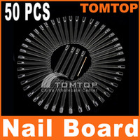 Wholesale 50pcs Transparent False Nail Art Board Tips Stick Polish Foldable Display Practice Fan Board H8187