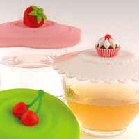 Wholesale Strawberry Cherry Cake Cup Cap Silicone Anti Skid Water leak Cup Cover Tea Mug Cup Lid