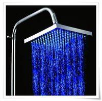 ABS Yes  LED Blue Light Square Top Rain Shower Head Overhead Bath Bathroom Glow B1