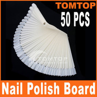 Wholesale 50Pcs Ivory white False Nail Art Tips Stick Display Practice Fan Board H8187W