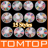 Wholesale 15 styles D Fimo Nail Art Decoration Tips UV Acrylic clay slices Manicure Wheel H8114 H8128