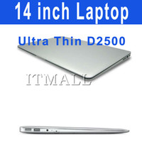 Wholesale 14 inch Netbook Dual Core Intel Atom D2500 Dual core Laptop HDD DDR3 thin Airbook Netbook