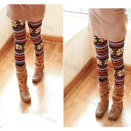Wholesale Fashion Thin Colorful Crystal Pattern snowflakes Women s Knit Leggings Tights Pants