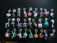 Wholesale enamel Silver Dangle European Charm Bead For Bracelet Necklace