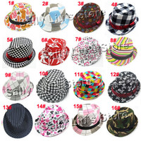 Wholesale Mixed Designs Chilren Hat Baby Canvas Spring Autumn Trilby Fedora Hat Kids Top Hat Sunbonnet
