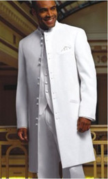 Handsome Top quality New White Long style Groom Tuxedos Wedding Men's Suit Bridegroom Suits (Jacket+Pants+Tie+vest) KO:68