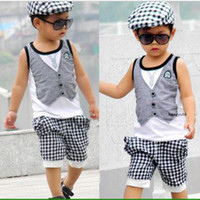 Wholesale Baby boys suit pc set kids Children vest t shirt shorts boys suits B liy