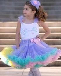 free shipping 2-8T christmas girl baby tutu pettiskirt children ruffle tulle table skirt rainbow dance tutu skirt 10pcs lot