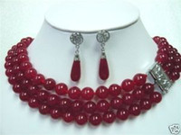 Wholesale Natural row Surrounded Blood Red jade necklace Earring