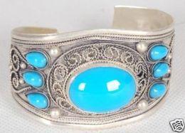 Wholesale cheap Fancy Tibet Silver Inlay Turquoise adjustable Bracelet