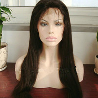 Wholesale 18 inch Natural Straight Natural Color virgin Malaysian Hair Silk Top full Lace Wigs