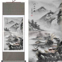 Wholesale Oriental Landscape Paintings Chinese Silk Scrolls Hanging Painting Decoration Art Painted L100x30cm piece Free