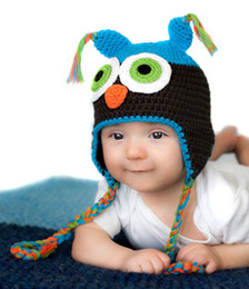 Wholesale Baby Boy Crochet Owl Hat Turquoise Brown Owl Hat Months or Months Handmade Crochet Baby Hats