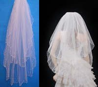 Tulle arriva pearl - 90cm Length New Arriva Two Layers Beads Lovely White Ivory Wedding Veil Bridal Veil