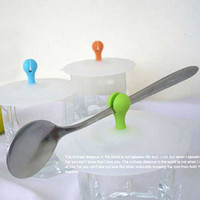 Wholesale Beads Cup Cap Silicone Anti Skid Water leak Cup Cover Tea Mug Cup Lid Can Clip Spoon