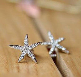 Wholesale Fashion Jewelry Starfish diamond temperament full earrings pce