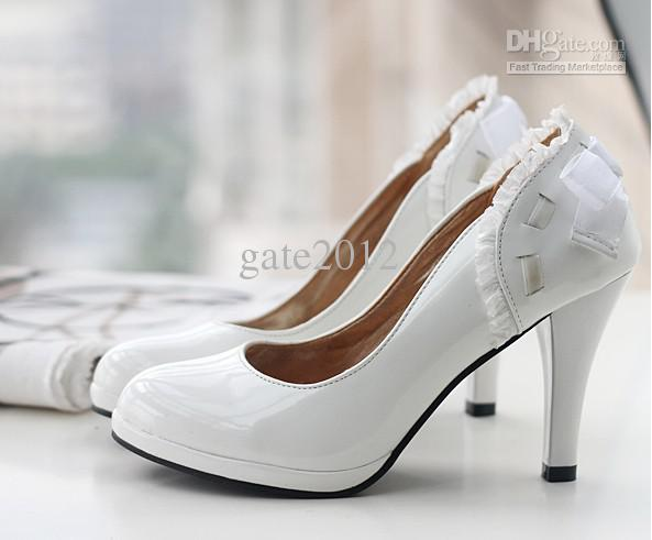 most popular white color bowknot dress shoes s lace
