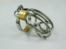 Wholesale High quality Male stainless steel chastity device Cock Cage with Rings amp Padlock for SM game