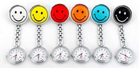 Wholesale 100pcs colors Doctor Metal Nurse Medical Smile Face Watch Unisex Watches With Clip Pocket Watch DHL