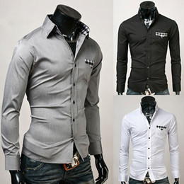Wholesale NEW Men s Black White Gray Plaid Slim Fashion Long Sleeve Shirt M L XL
