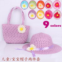 Wholesale 40pcs Girls Flower Straw Beach Hat Bag Sets Baby Summer Straw Sun hat Kids Children Topee Colors Mixed