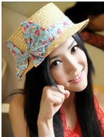 Wholesale Take Bowknot Flat roofed Straw Straw Hat Flat Hat