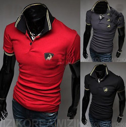 Wholesale 2012 HOT Korea New Mens Casual Slim T shirts short Sleeve shirt mens t shirt red nbk