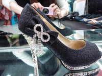 Wholesale Women s Black Color Waterproof Diamond Bow Dazzling Open Toe High Heels Shoes Wedding Bridal shoes